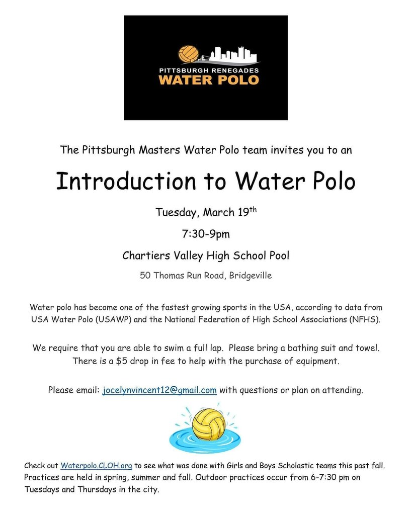 Brochure for water polo intro clinic, March 19, 2019